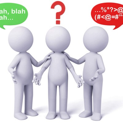37817099 - 3d people thinking in a pile of question marks. 3d image. isolated white background